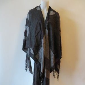 "SAKS FIFTH AVENUE BLACK BROWN HEATHERED WRAP 90""L"